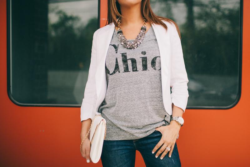 White Blazer and Tee, Chic Tee, How to wear a tee shirt and blazer, Jaime Cittadino, Sunflowers and Stilettos