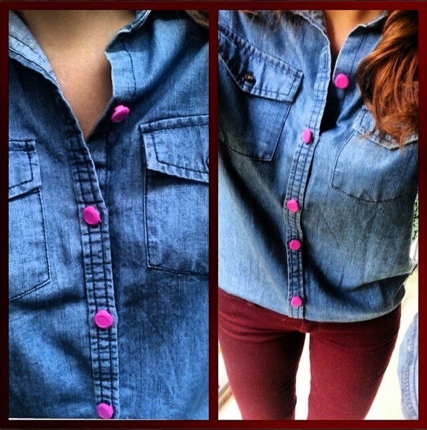 pink ALTR button cover with garnet jeans