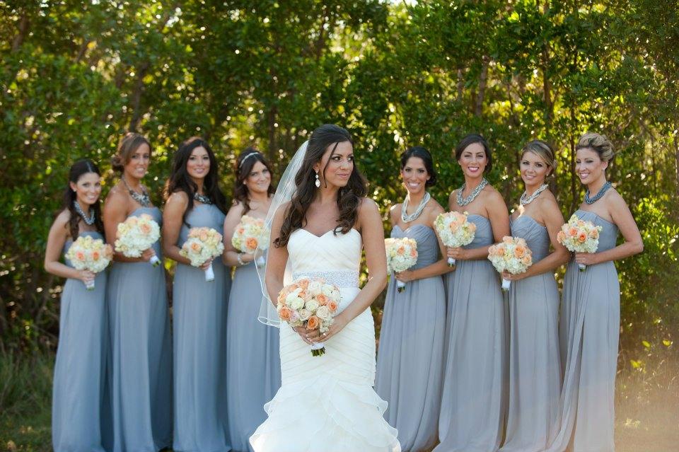 Grey, Peach, White Wedding