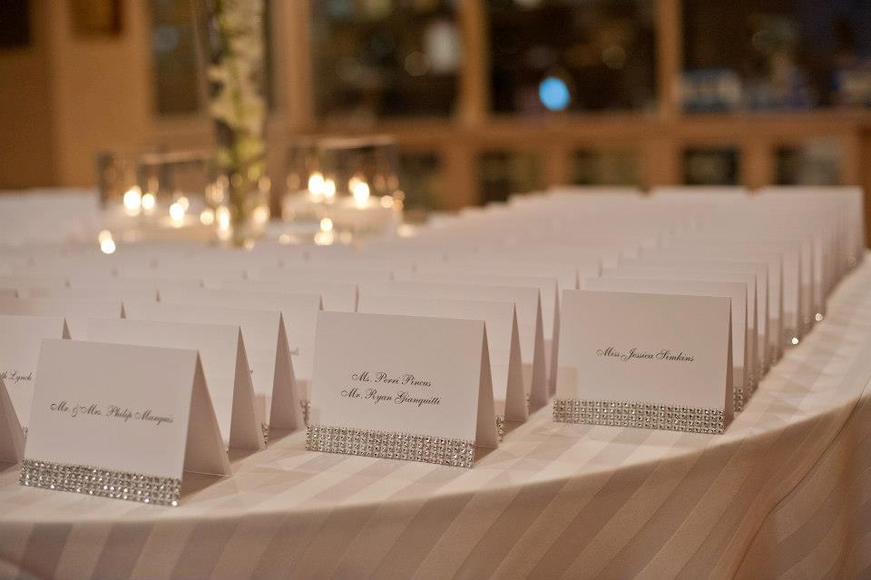 crystal wedding name cards