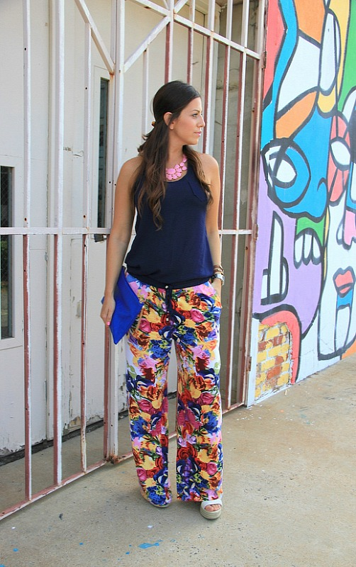 wide legged floral pants