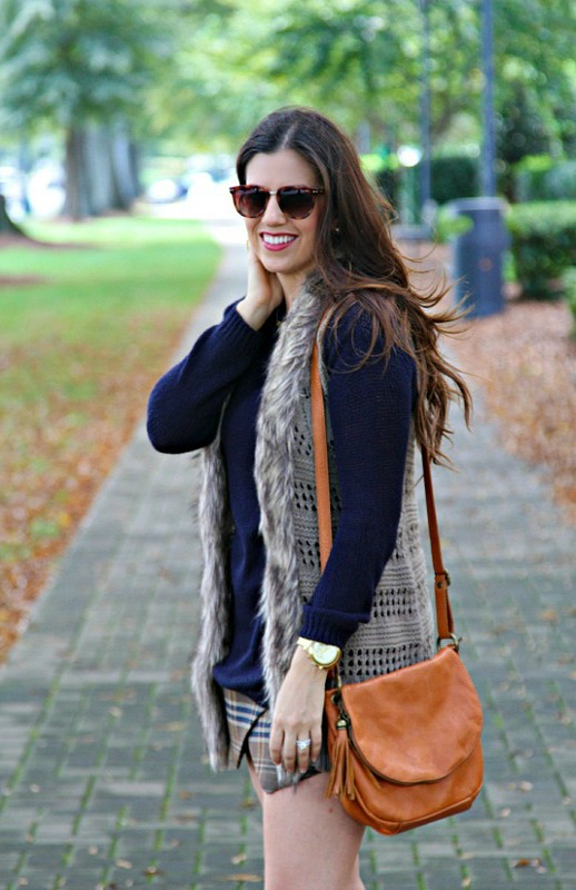 Faux Fur Vest and Sweater