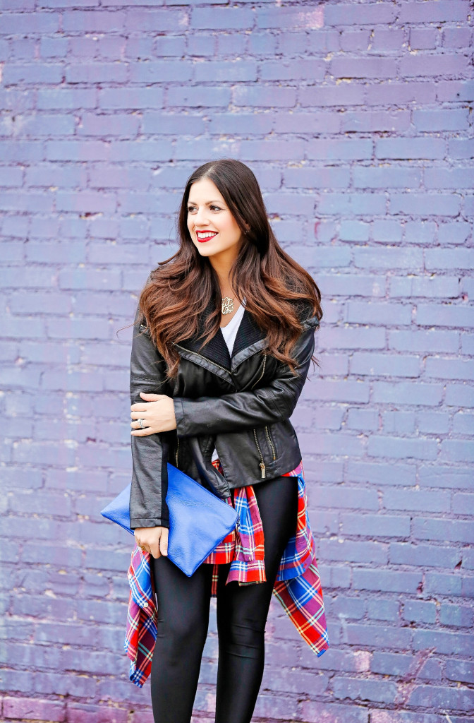 Leather Jacket and Plaid Top