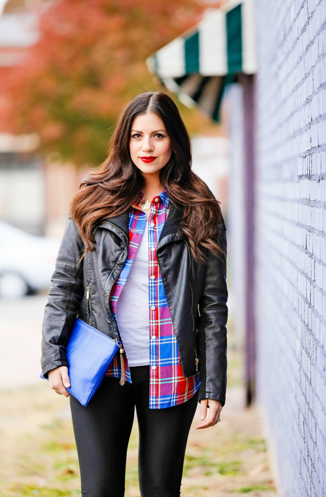 Plaid Top with Leather