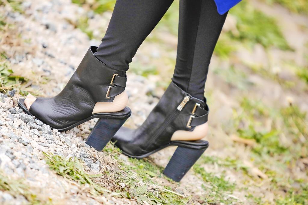 open toe black booties