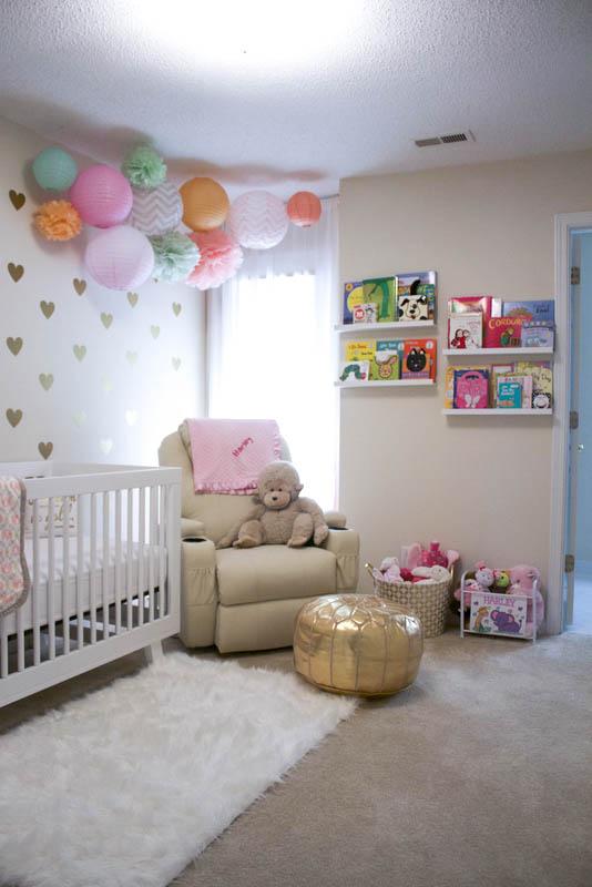 Gold, Mint, Peach, Pink baby girl nursery