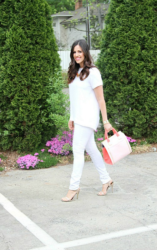 White Shirt and White Jeans Outfit