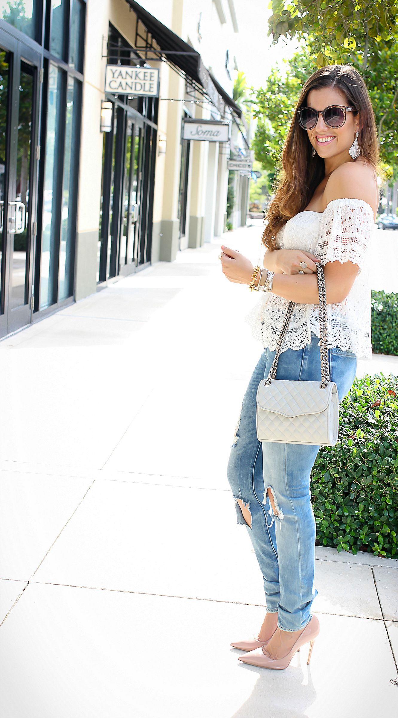 what to wear with off the shoulder tops