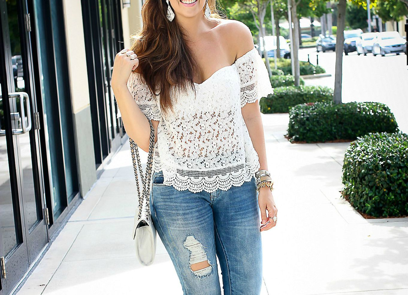 white crochet off shoulder top