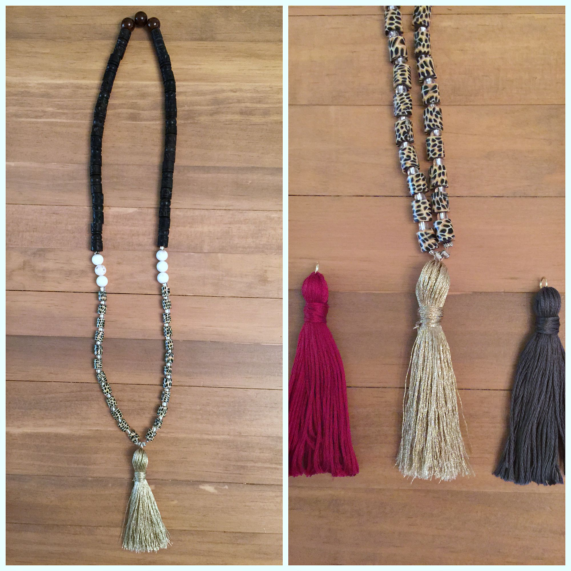in turk beads tassel trina front bloom pin necklace