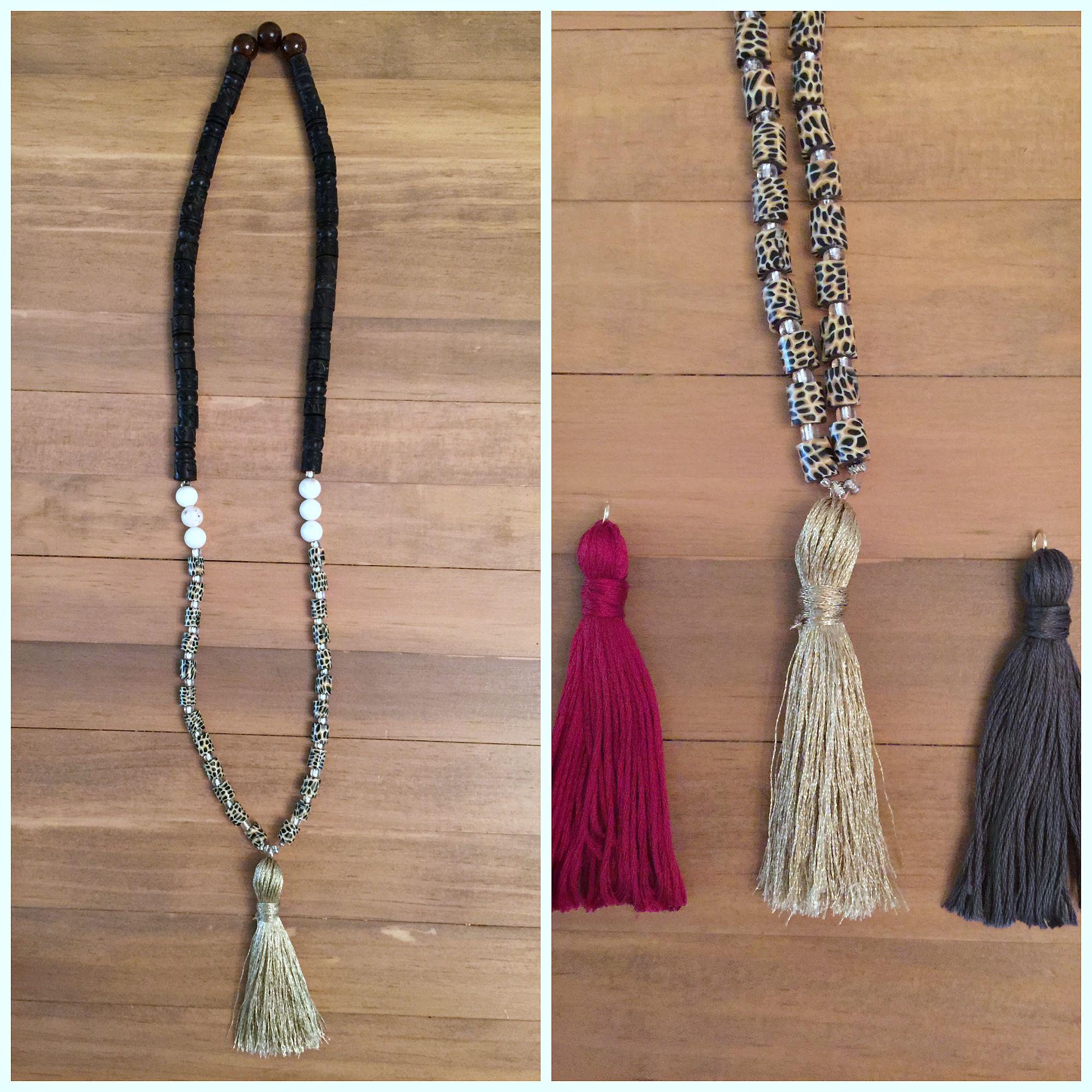 diy beaded tassel necklace. Black Bedroom Furniture Sets. Home Design Ideas