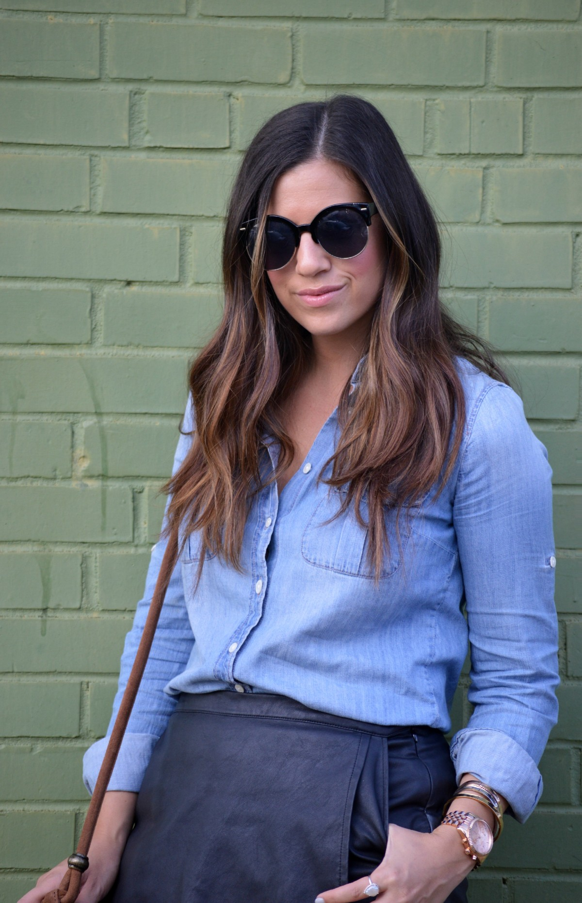 denim button down shirt, leather skort, leather skirt