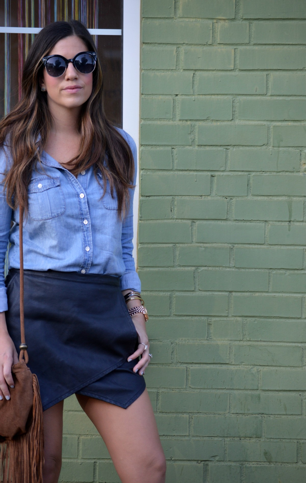 how to style a black leather skirt, what to wear with black leather skort