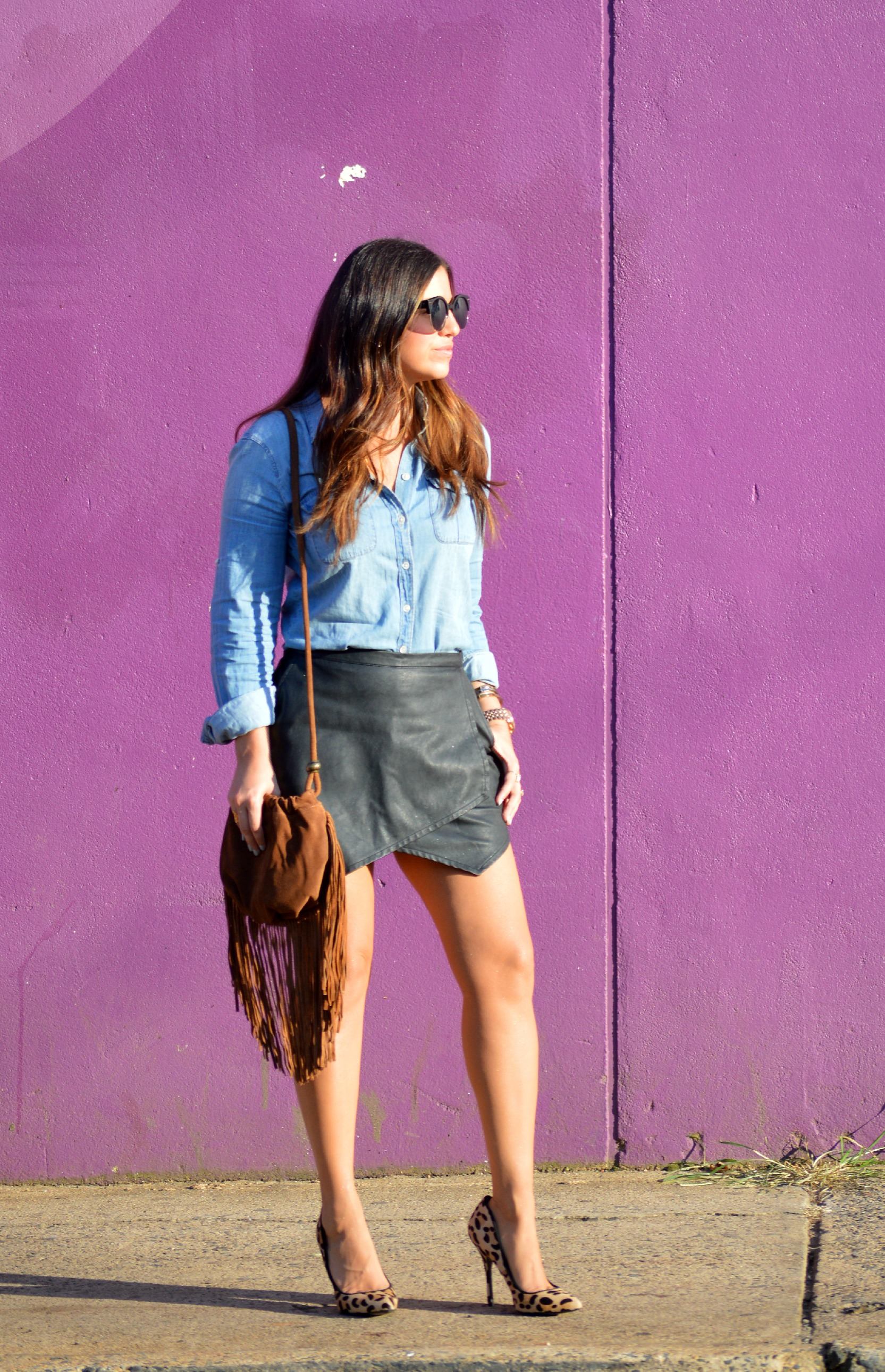 Denim Top Amp Leather Skirt