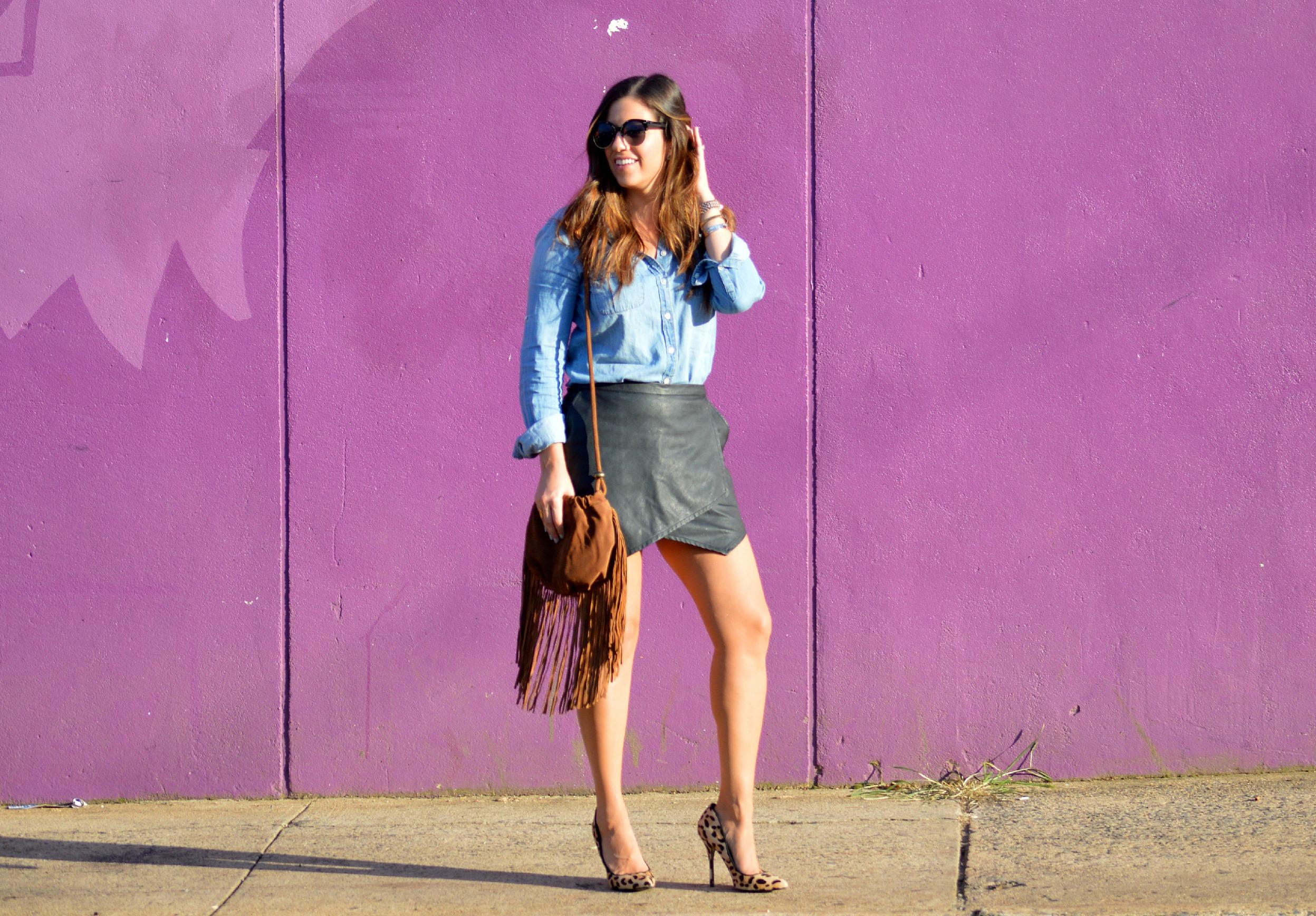 denim top, leather skirt, sunflowers and stilettos blog