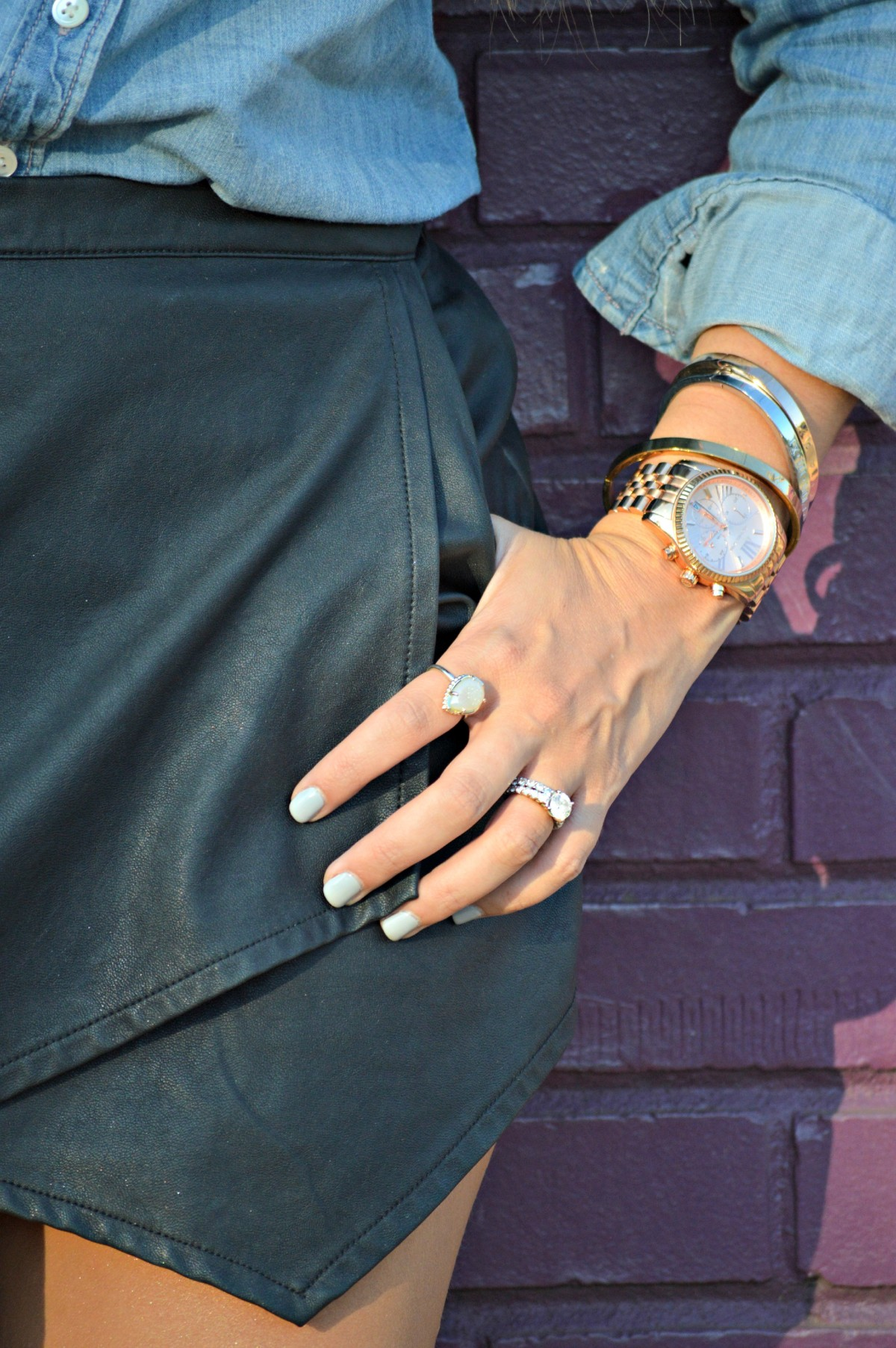best way to style black leather skort for Fall