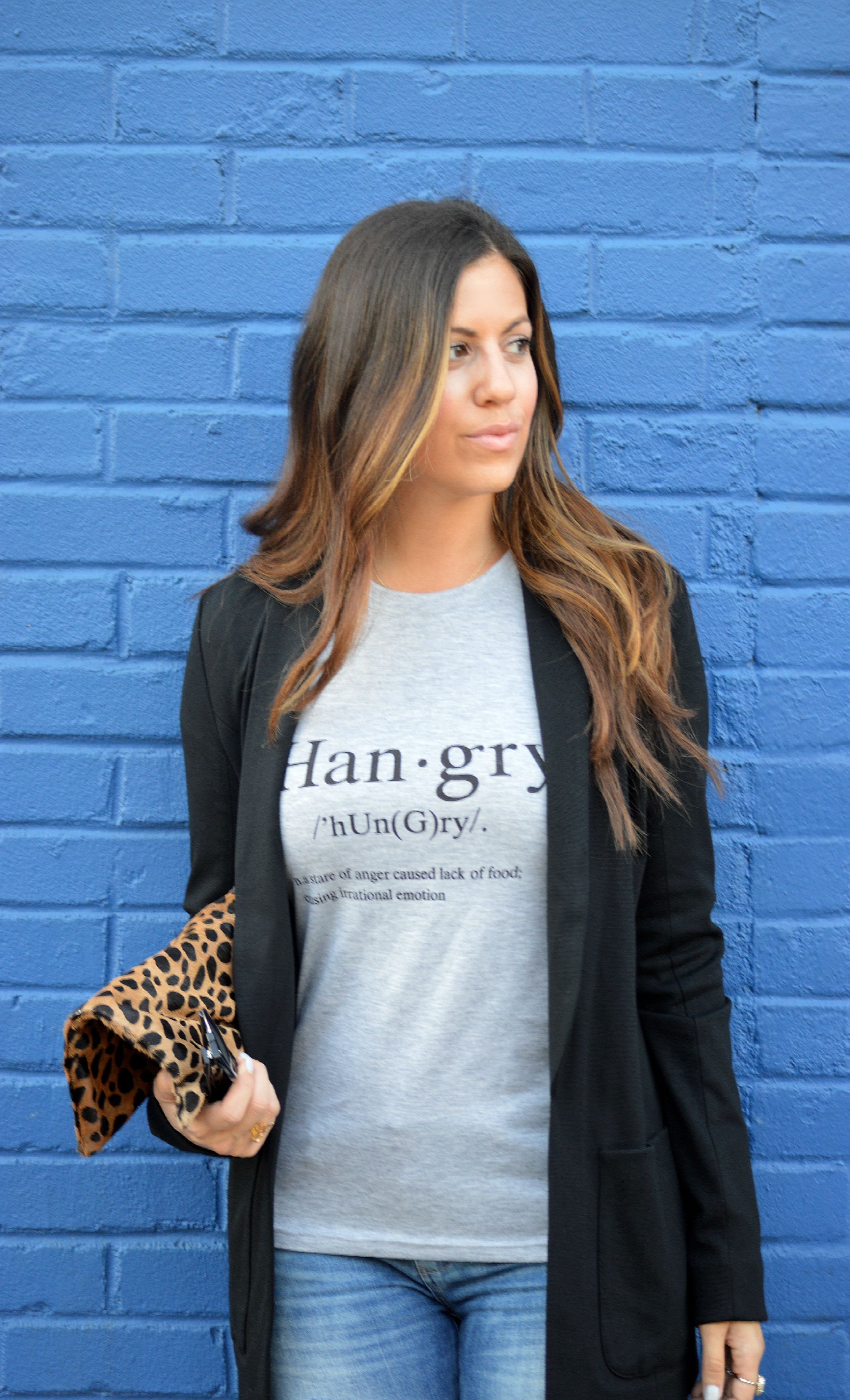 women's graphic tee with blazer