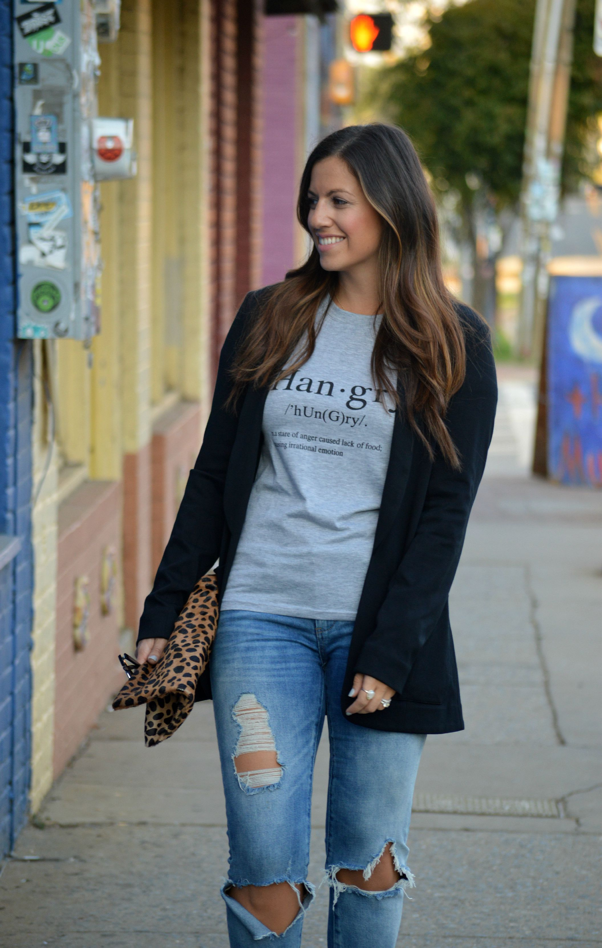 jaime cittadino, sunflowers and stilettos, boyfriend blazer, boyfriend jeans, ripped denim