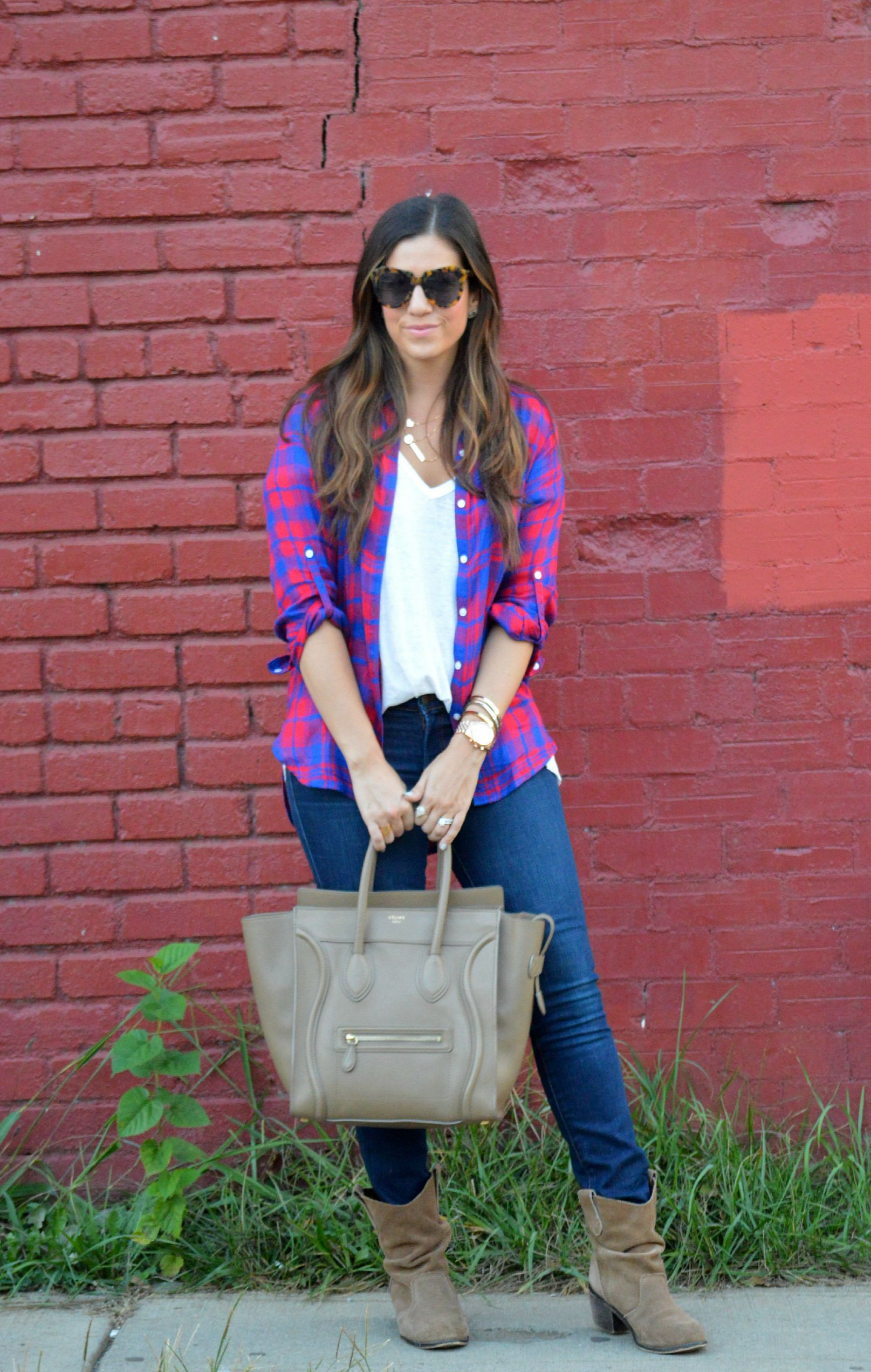 plaid shirt fall staple outfit