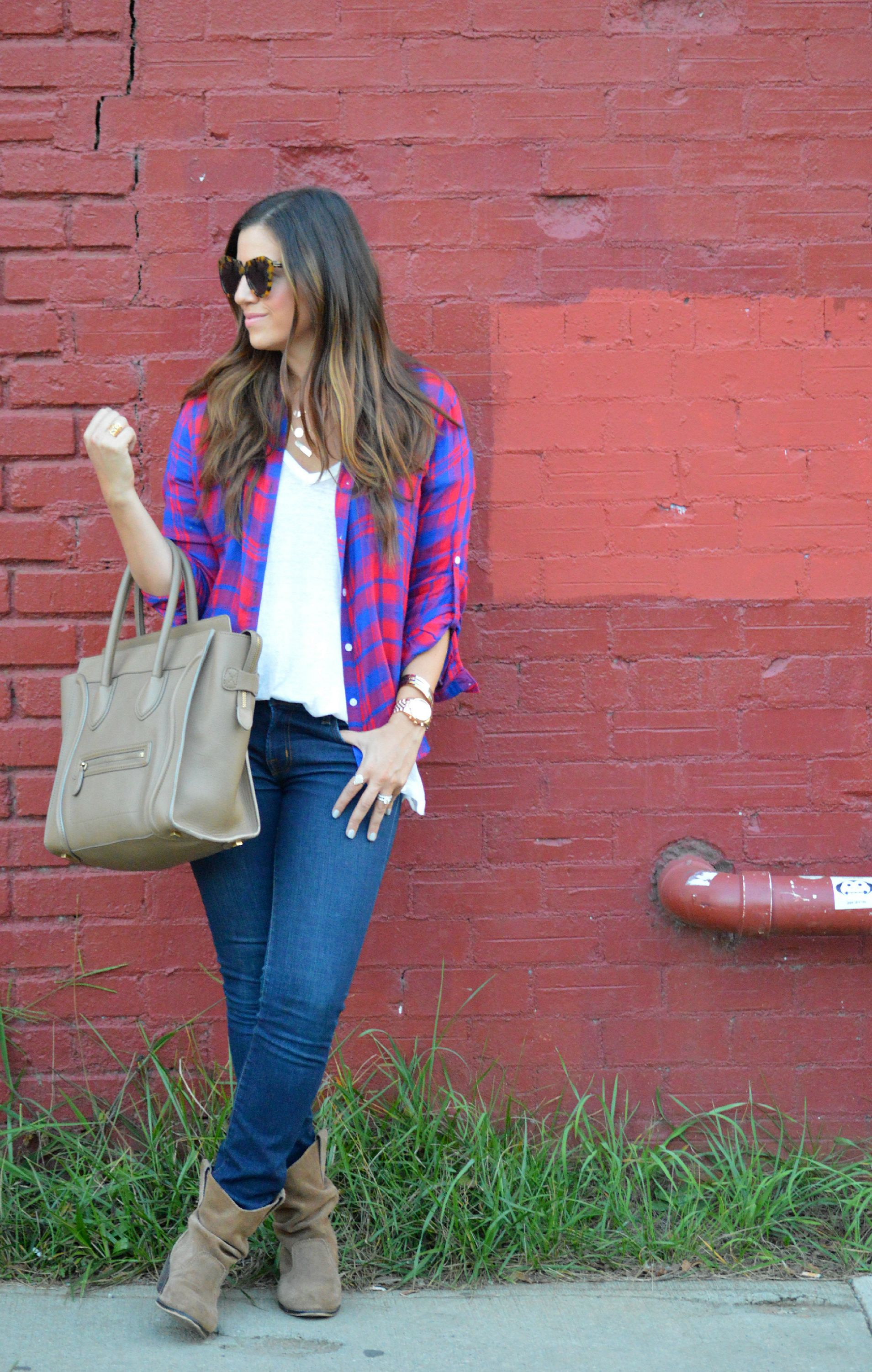 red and blue plaid shirt with jeans