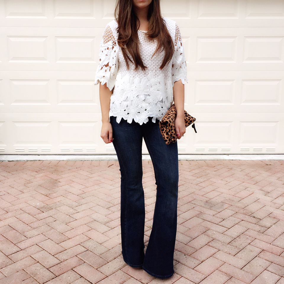 Chicwish top, flared jeans, Jaime Cittadino, Sunflowers and Stilettos