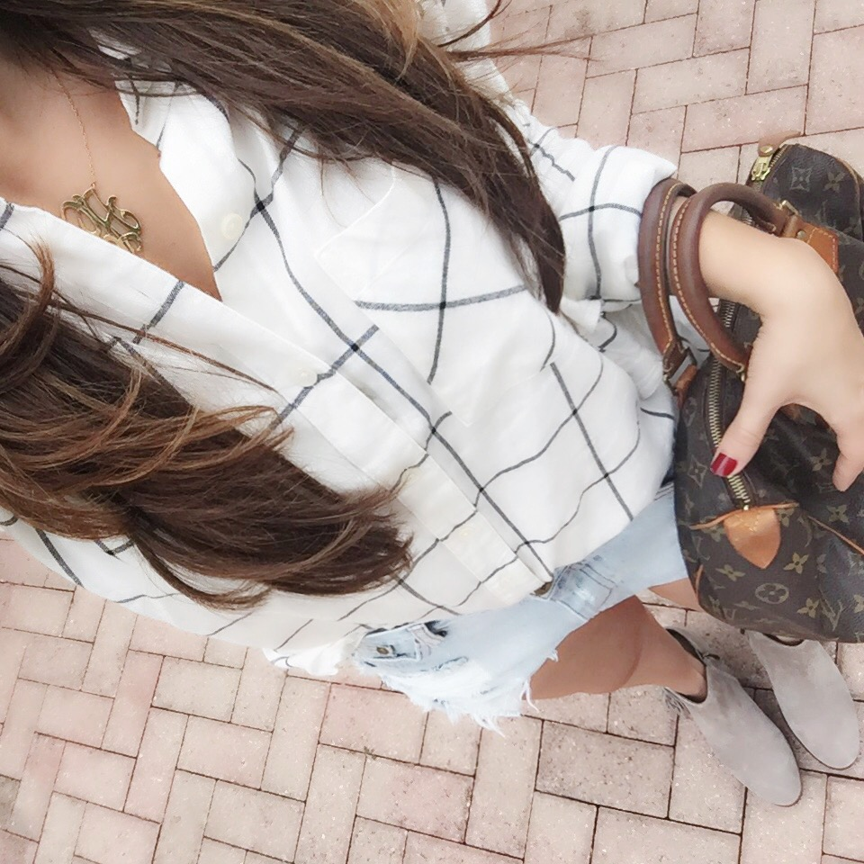 plaid top with denim shorts