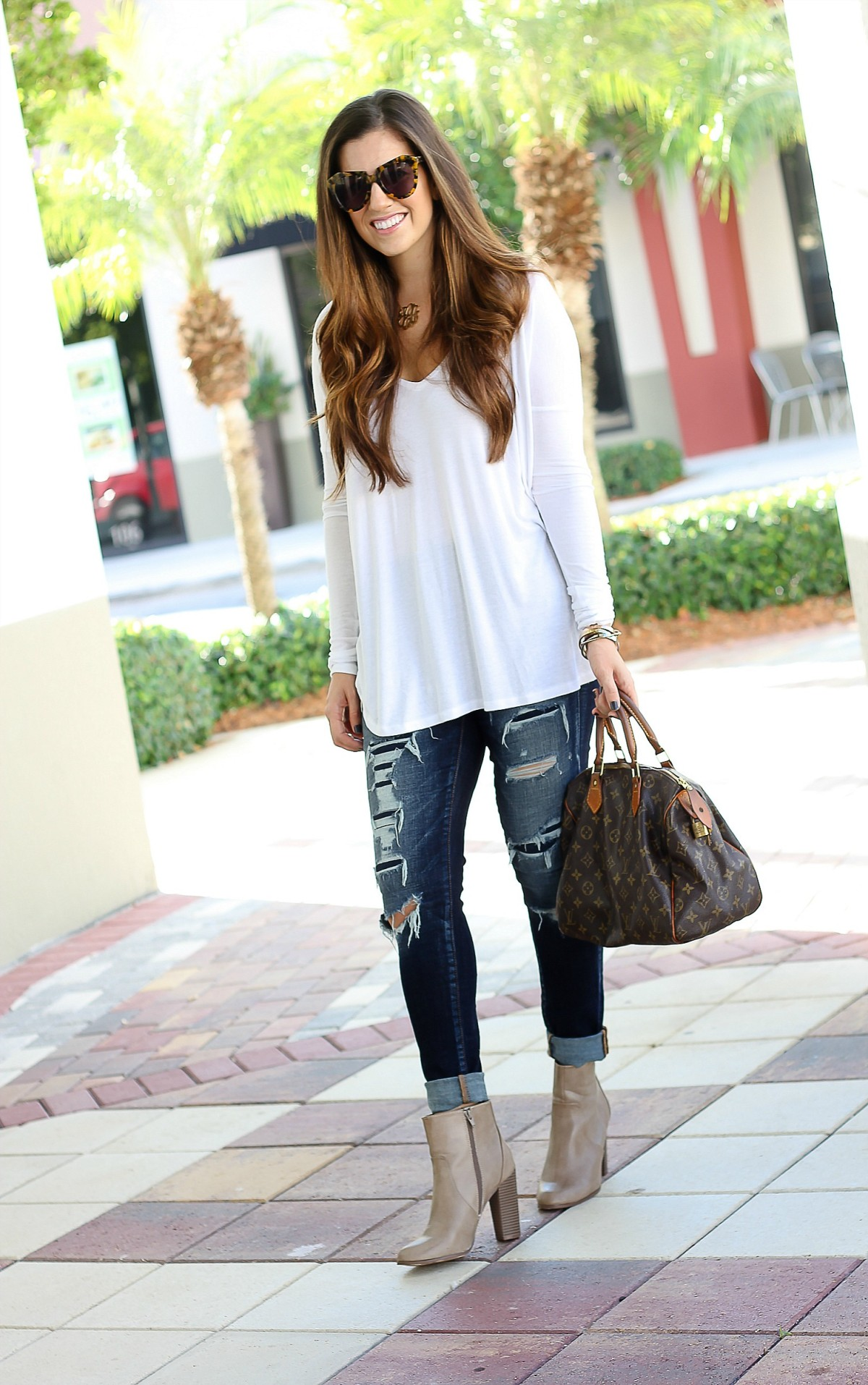 aldo for target booties, blue life fit long sleeve tee, american eagle distressed jeans