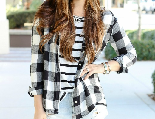 black and white buffalo plaid and stripes, layering for Fall