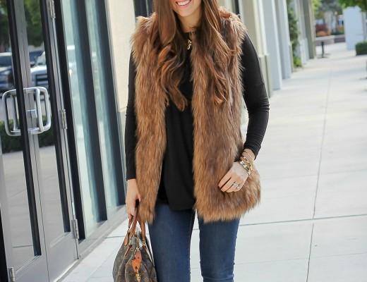 best faux fur vest, cute faux fur vest, faux fur vest under $50