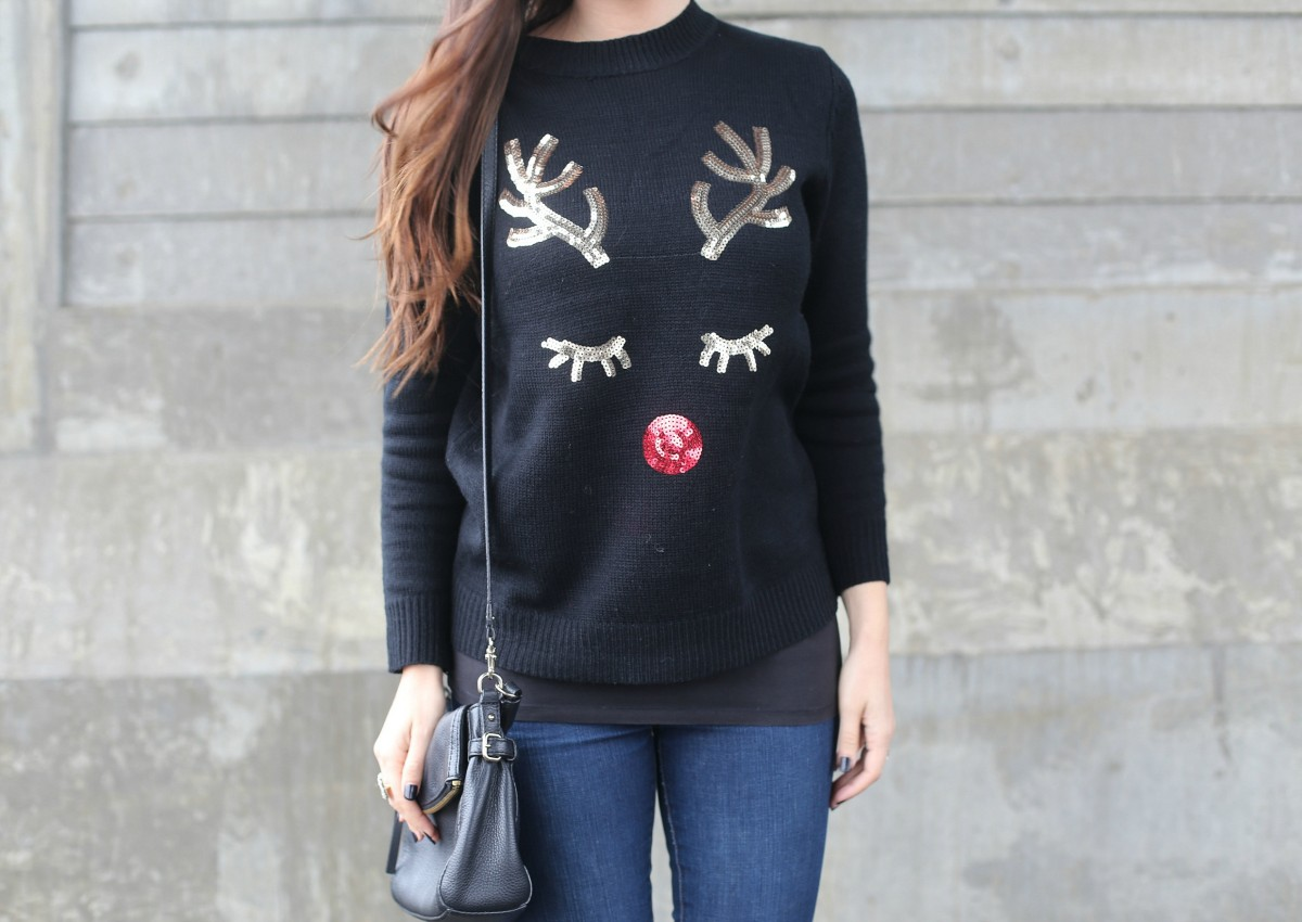 sequin reindeer sweater