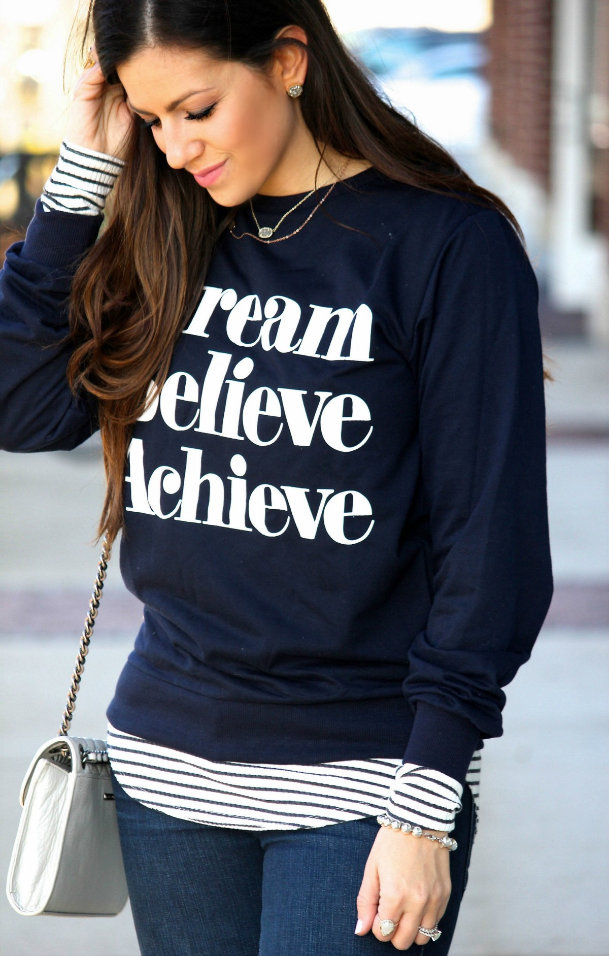 Dream Believe Achieve sweatshirt, how to dress up a sweatshirt