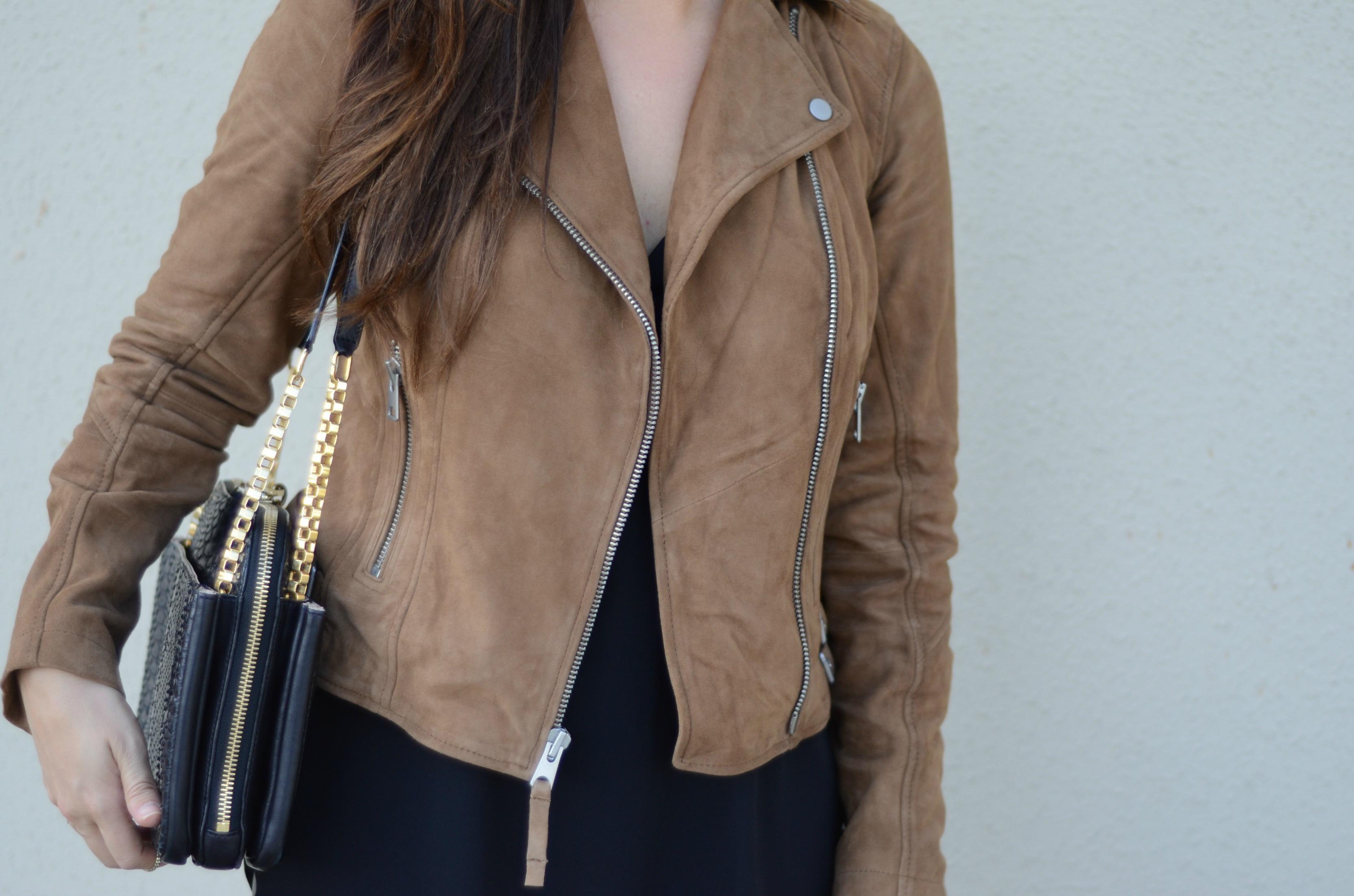 brown leather biker jacket