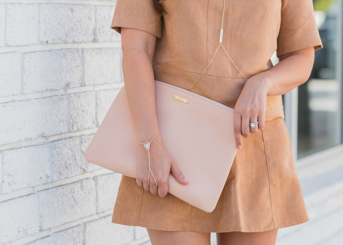 tan suede skirt set, gigi new york clutch