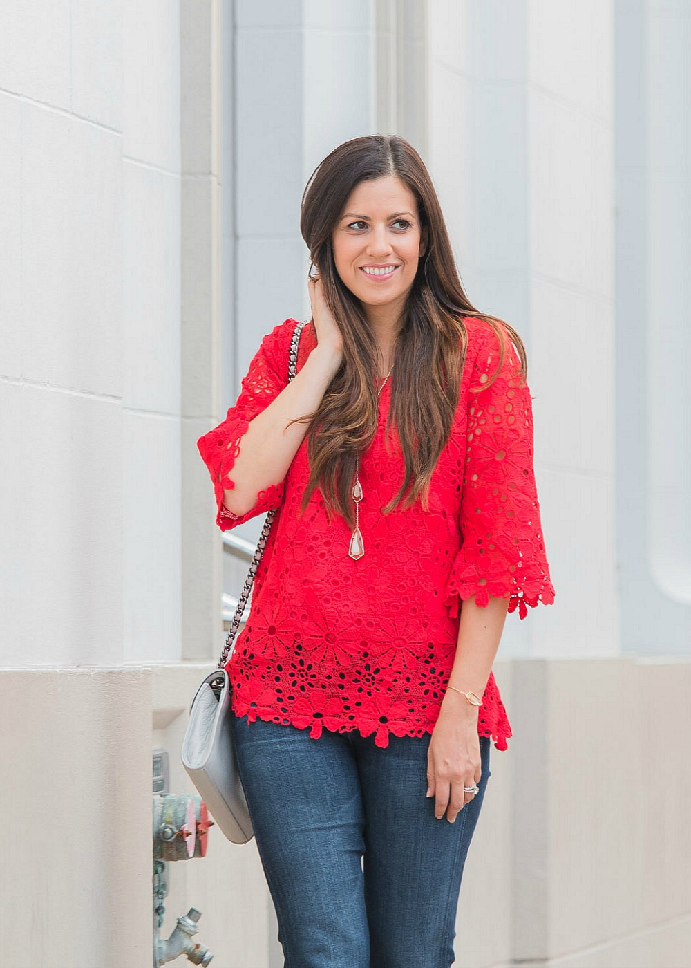 red crochet top, chicwish top