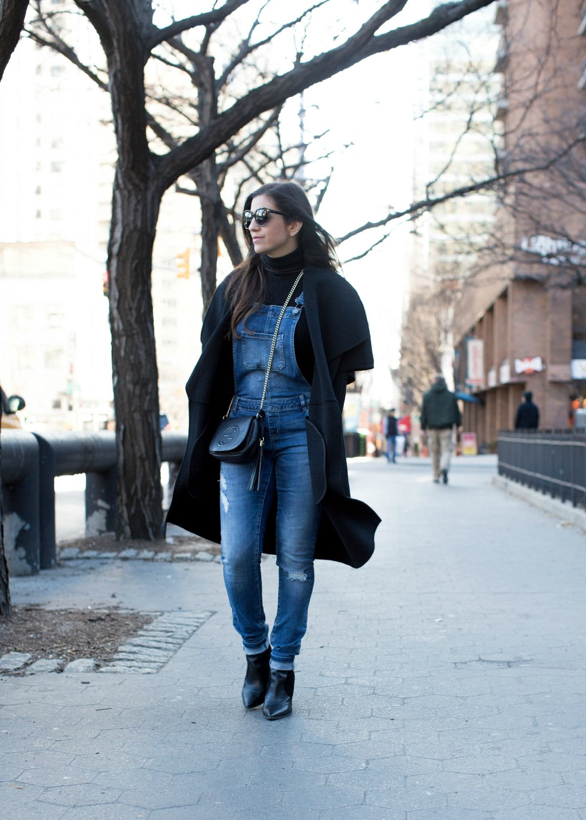 NYC street style, wearing overalls in the winter,