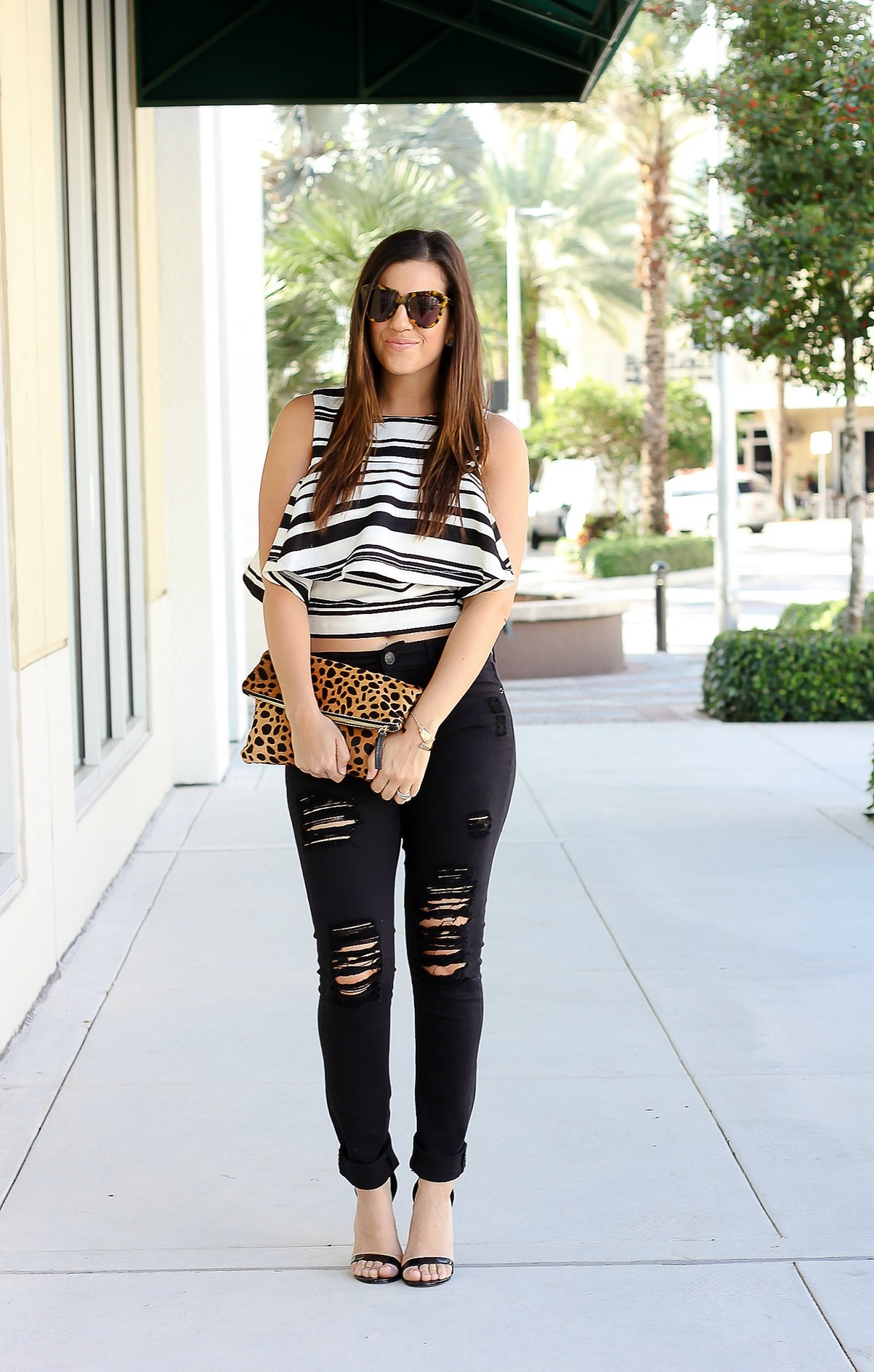 J.O.A. ruffled top, J.O.A. back white stripe top, Jaime Cittadino, Miami Fashion Blogger