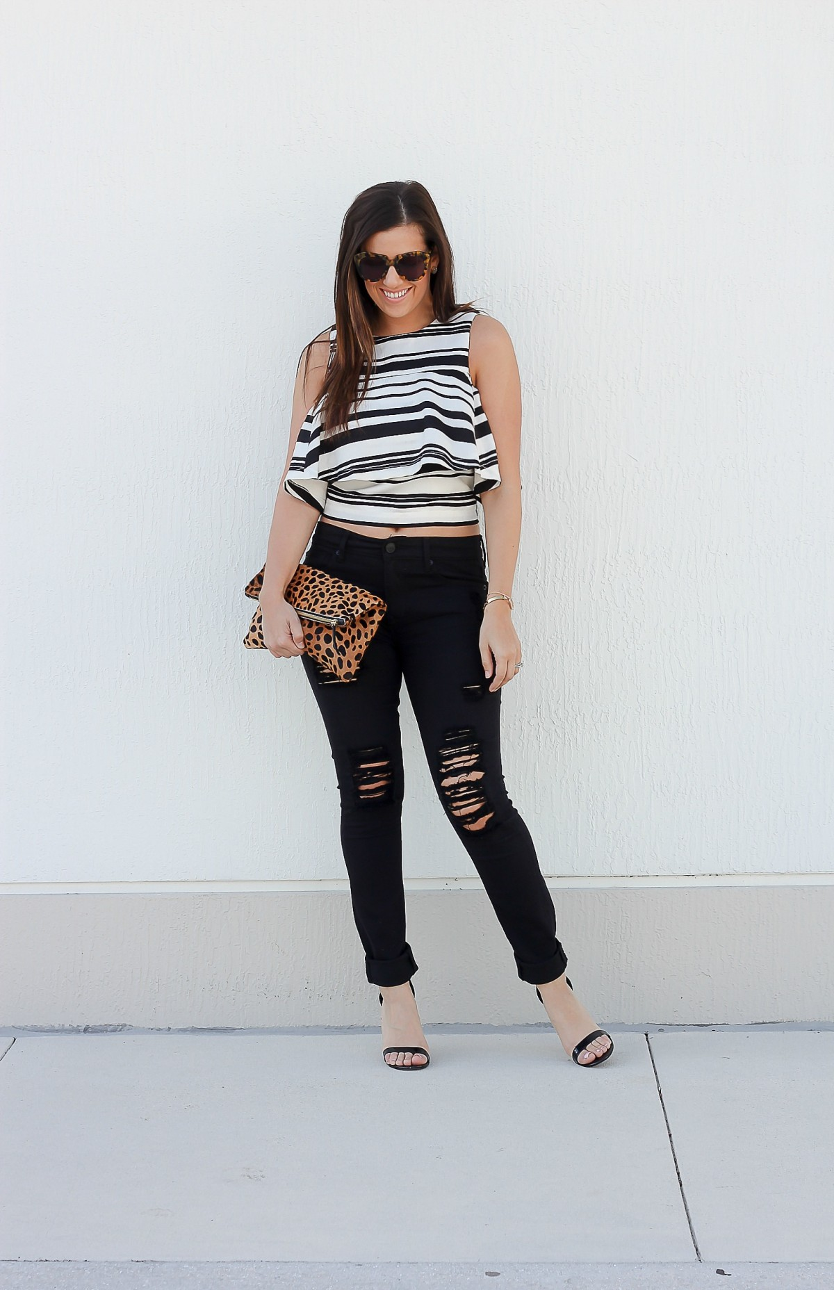 J.O.A. crop top, stripe ruffled crop top