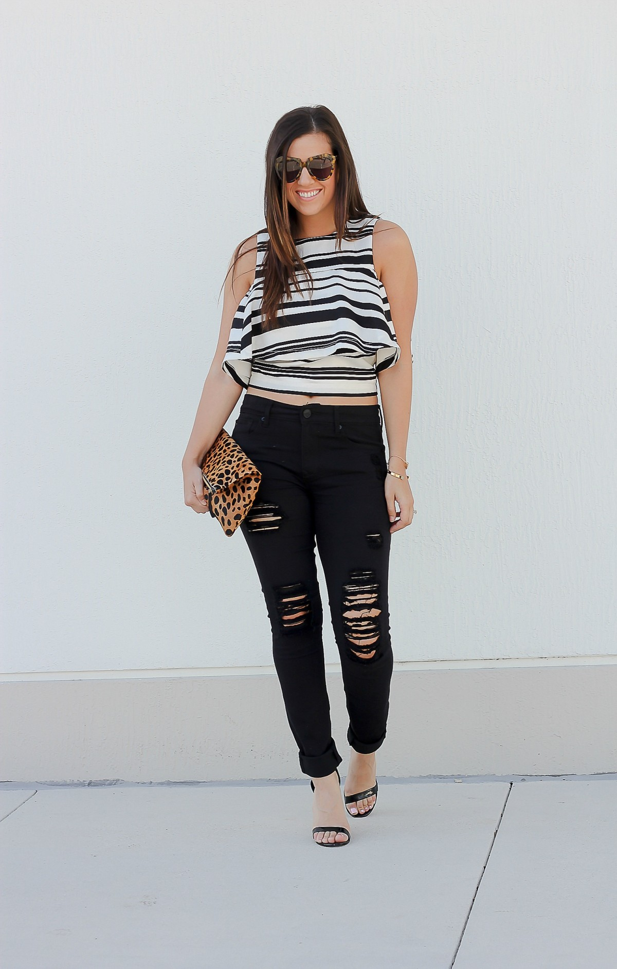 black white stripe ruffled top, black white off shoulder top, JOA cold shoulder top