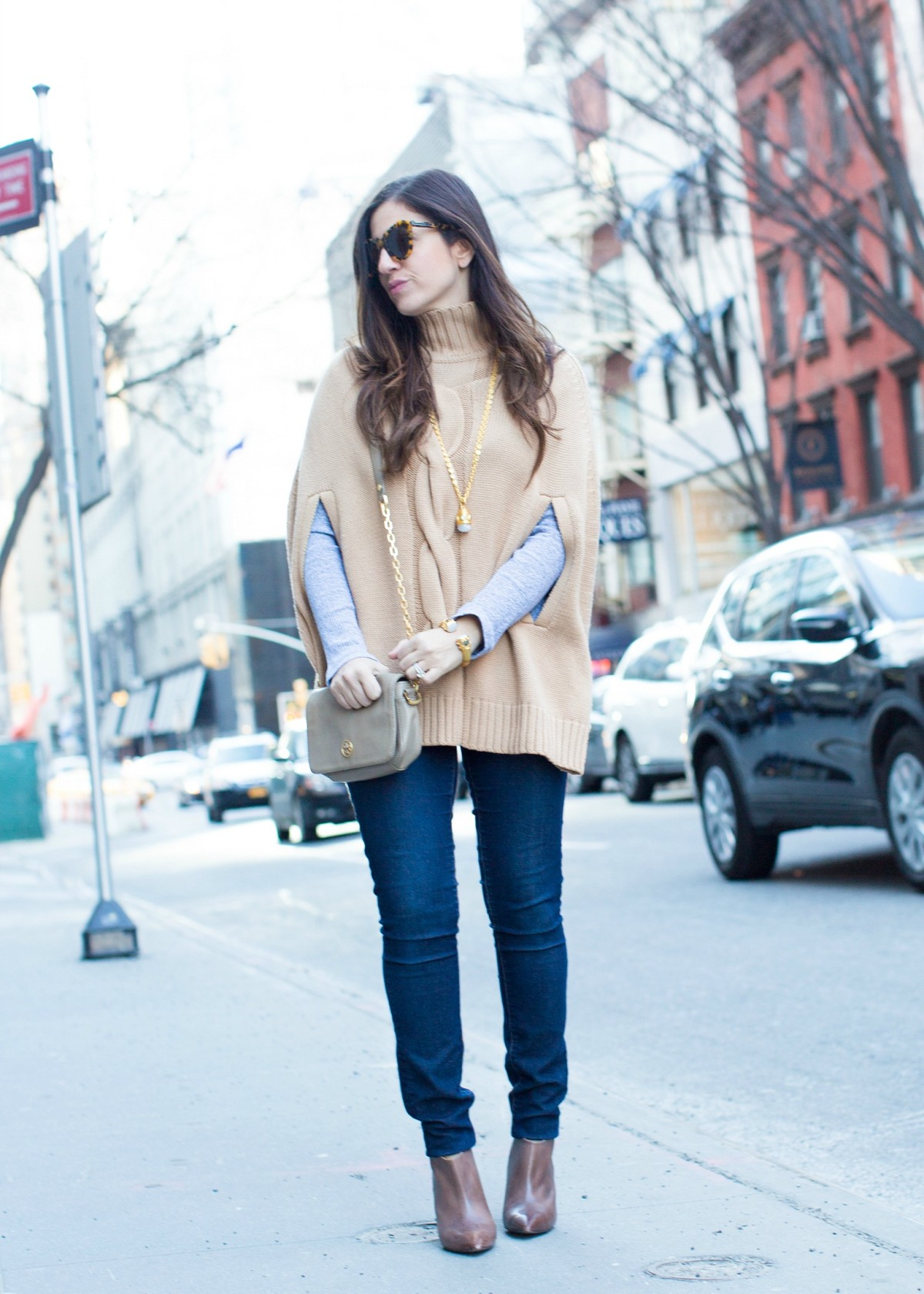 camel cable knit turtleneck sweater