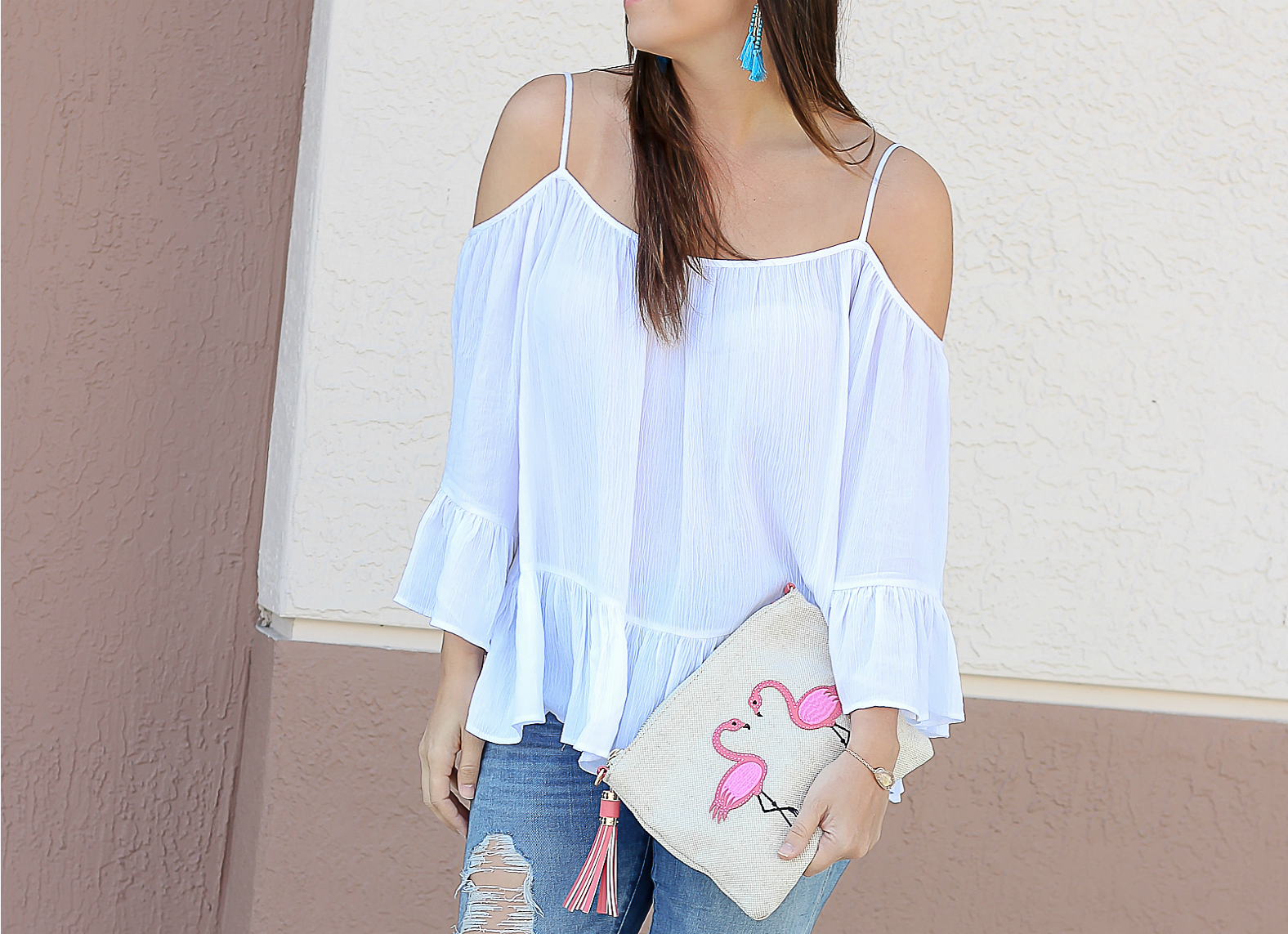 flamingo clutch, Francescas flamingo clutch, best white off shoulder top
