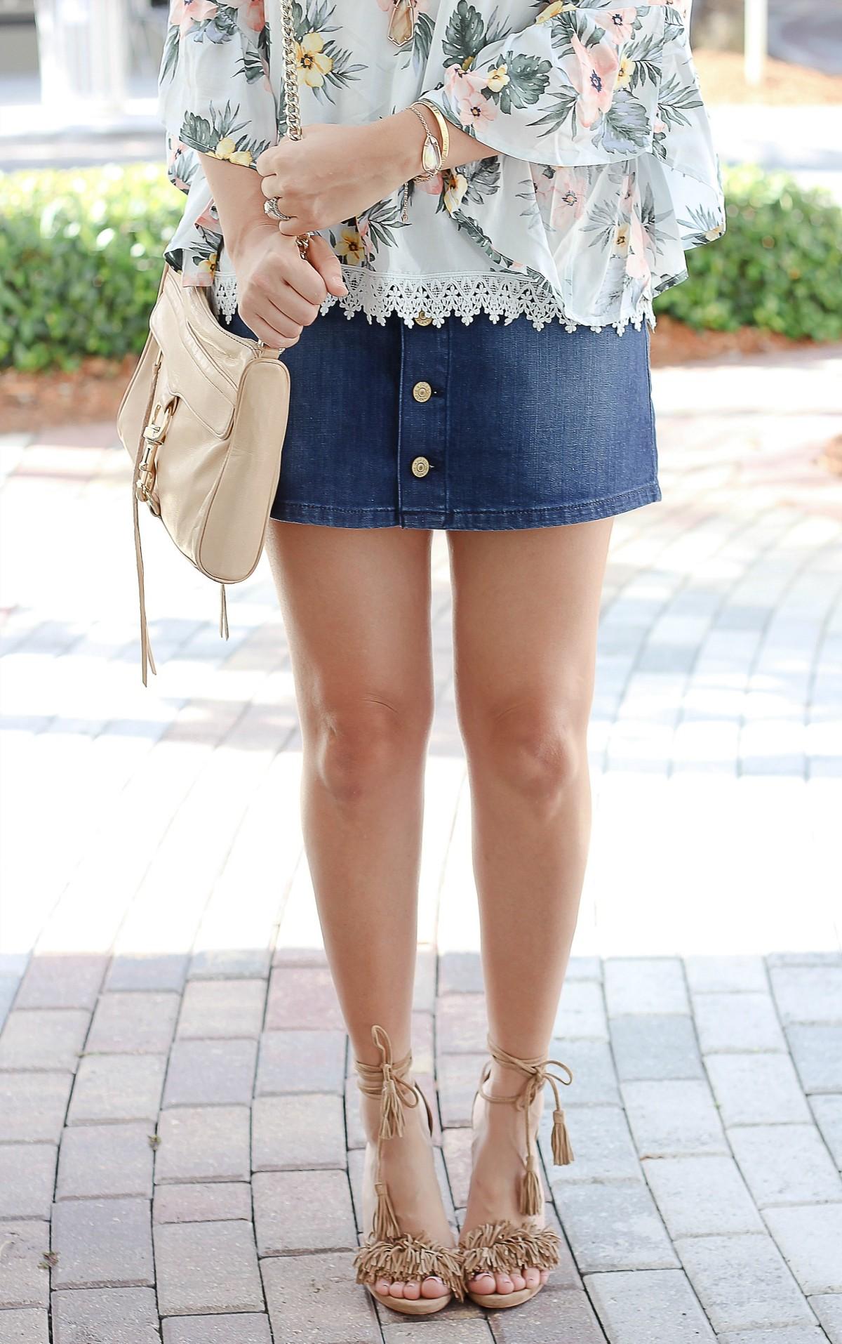 affordable denim skirt, denim skirt trend, lace up heels, tassel heels