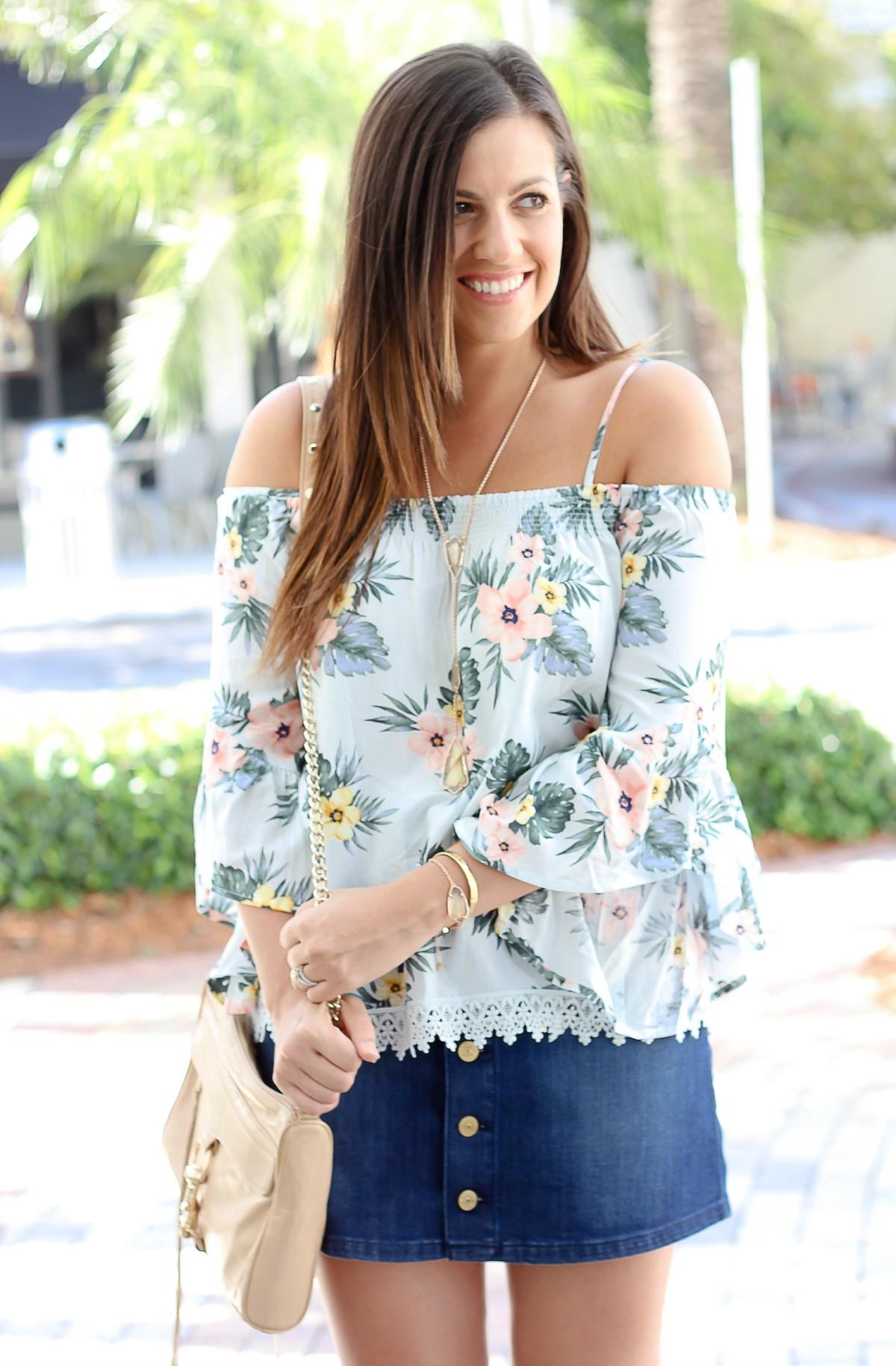 inexpensive off shoulder top, jean skirt, off shoulder trend