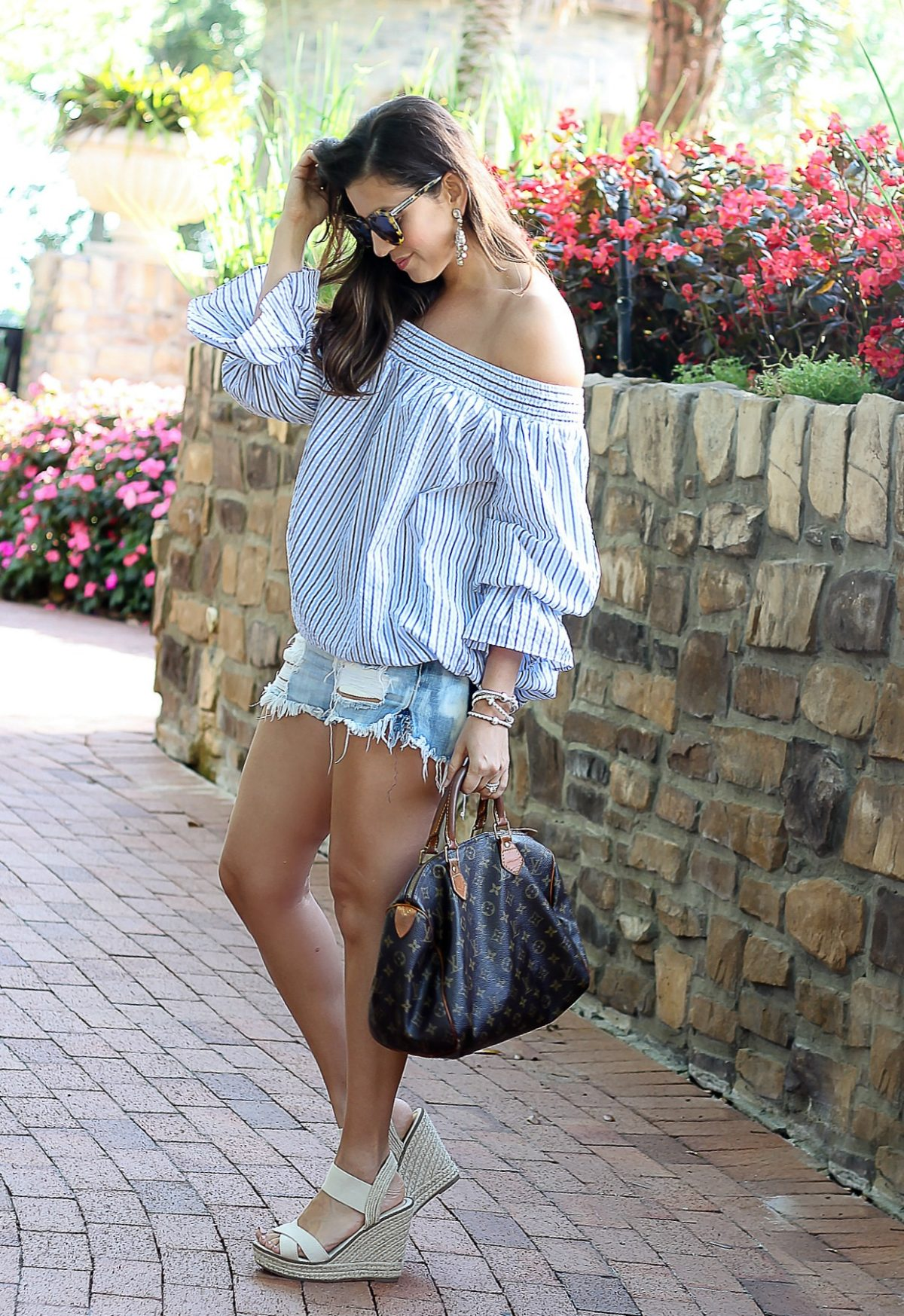 Chicwish Pastel Blue Stripes Off-shoulder Top with Bowknot