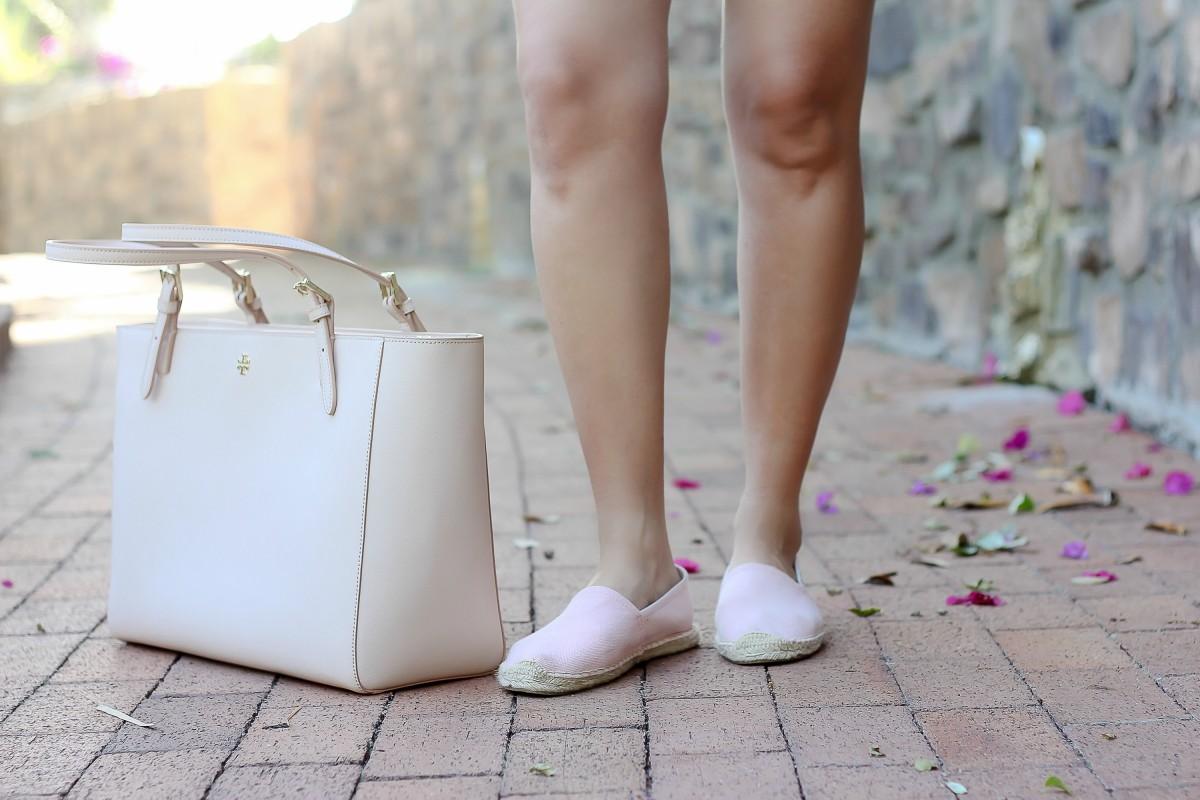 blush bag, best blush tote, pink solids dali espadrilles