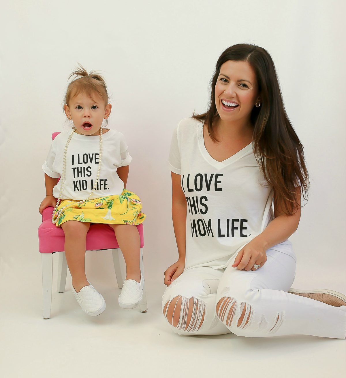 mom life tee, mother daughter matching tees, I Love This Mom Life tee, Mommy and Me tees