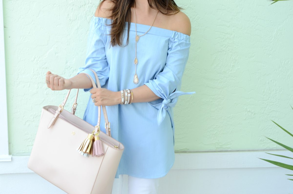 off shoulder tunic top, tory burch york tote, the providence story tassel keychain
