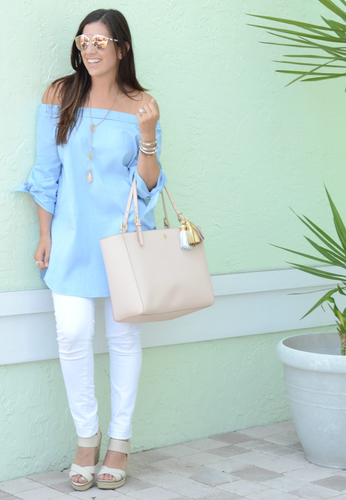 off shoulder tunic top