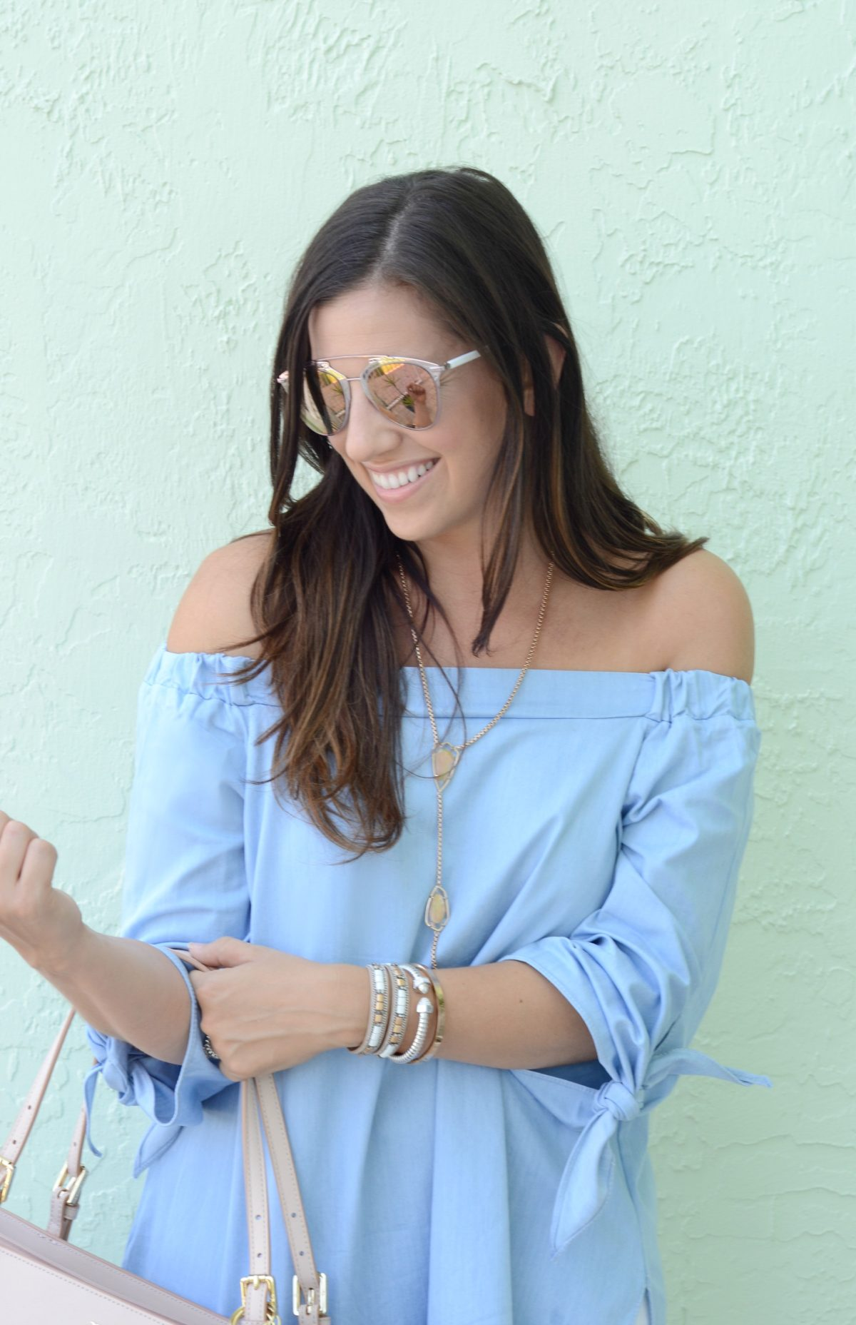 chicwish blue off shoulder tunic