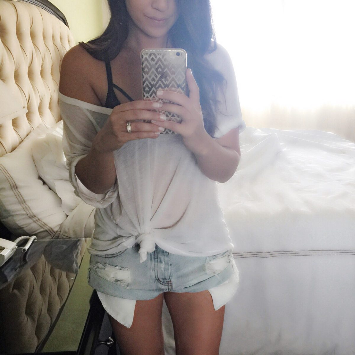 free people v neck tee, one teaspoon denim shorts