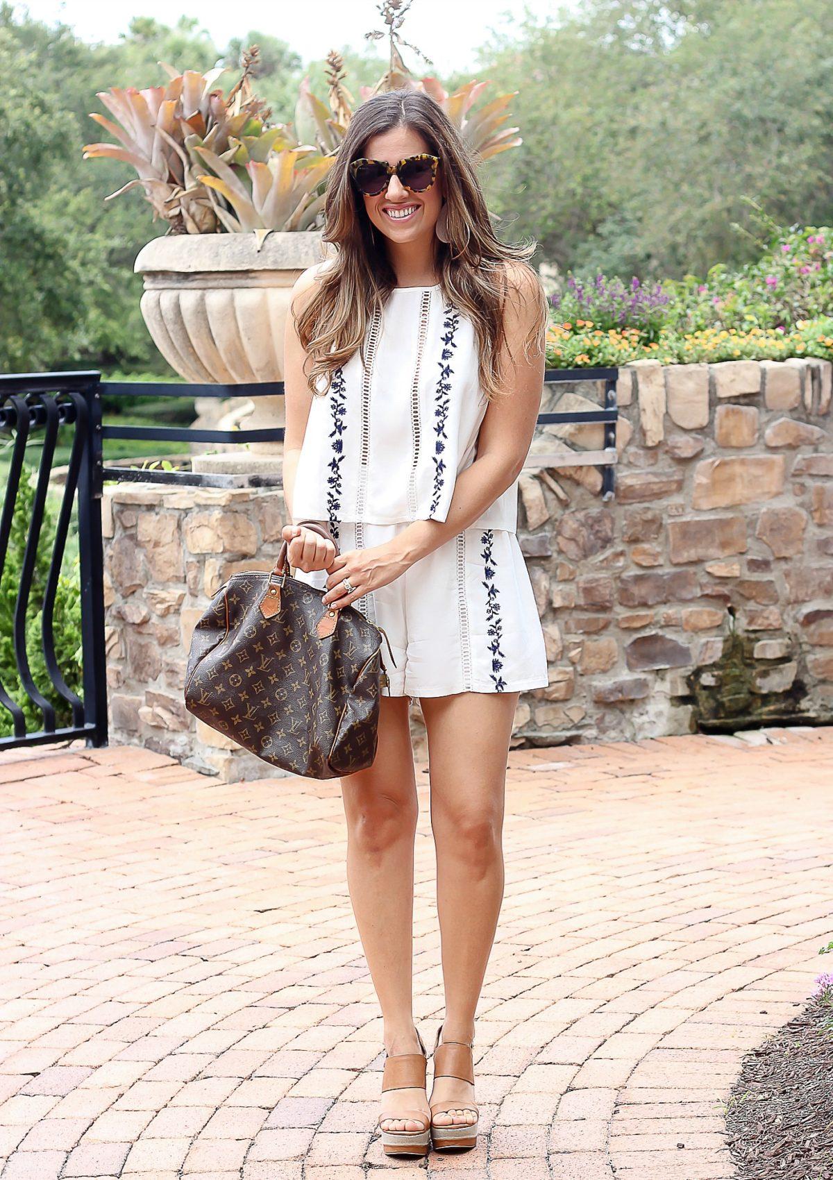white embroidered co ord shorts set, ASOS Shorts Set worn by fashion blogger, Jaime Cittadino